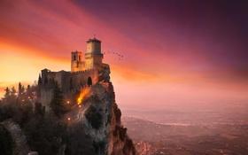 Картинка птицы, башня, крепость, Сан-Марино, гора Монте-Титано, Гуаита