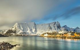 Картинка небо, горы, берег, побережье, дома, Норвегия