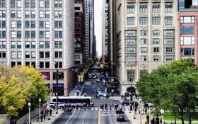 Обои Улица, Чикаго, Движение, Небоскребы, Здания, Америка, Иллинойс