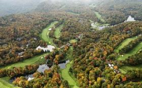 Картинка реки, леса, осень, North Carolina, панорама, США, поля