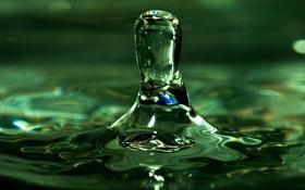 Картинка вода, капля, всплеск, разводы, зеленая, отблески, башенка