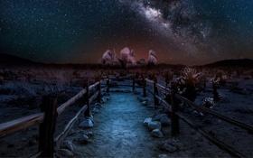 Картинка звезды, пейзаж, ночь, пустыня, забор, млечный путь