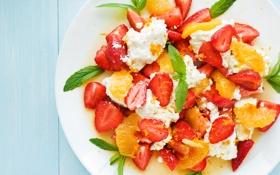 Обои ягоды, клубника, тарелка, фрукты, fresh, мята, десерт