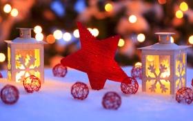 Обои зима, снег, огни, звезда, Новый Год, Рождество, фонарь