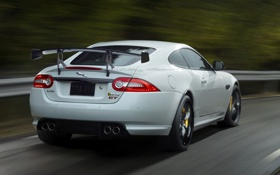 Обои машина, Jaguar, спойлер, задок, XKR-S