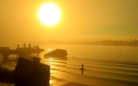 Картинка небо, солнце, закат, туман, река, люди, рыбаки