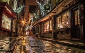 Картинка дорога, свет, ночь, улица, Англия, окна, дома