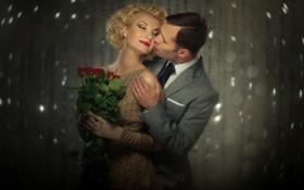 Картинка девушка, цветы, розы, макияж, блондинка, парень, причёска