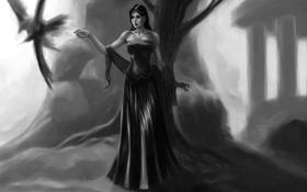 Обои девушка, фантастика, дерево, птица, платье, черное, арт