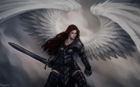 Обои ангел, девушка, арт, крылья, меч, Lucas Torquato de Resende