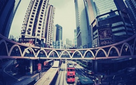 Картинка дорога, город, улица, дома, Гонконг, автобус