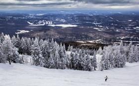 Обои зима, гора, долина, Canada, Quebec, Mont Tremblant