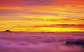 Обои облака, Небо, панорама, рассвет