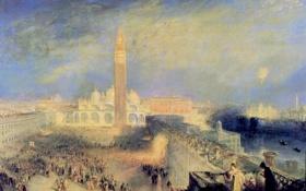 Картинка картина, площадь, Венеция, собор, городской пейзаж, колокольня, Уильям Тёрнер