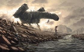 Картинка девушка, река, камни, скалы, ветер, транспорт, корабль