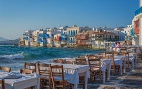 Обои море, город, стулья, дома, ресторан, набережная, столики