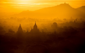 Обои city, asia, sunrise, temple, myanmar, bagan
