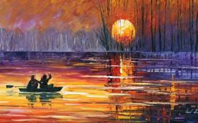 Обои деревья, закат, озеро, люди, лодка, Leonid Afremov