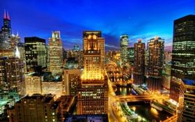 Картинка ночь, огни, река, здания, дома, USA, США