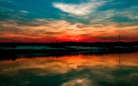 Картинка небо, вода, облака, закат, зарево