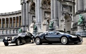 Обои здание, Bugatti, колонны, Veyron, бугатти, Coupe, скульптуры