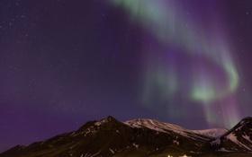 Картинка звезды, горы, ночь, северное сияние, Исландия
