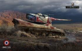 Обои война, болото, танк, war, World of Tanks, AMX 50B