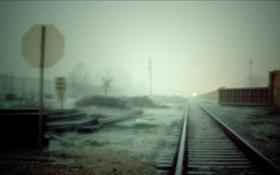 Обои туман, знак, рельсы, ж.д