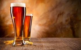 Обои пена, стол, пиво, бокалы