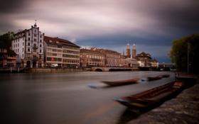 Обои мост, река, дома, размытие, лодки, Швейцария, Zurich