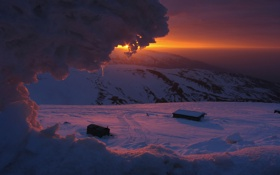 Картинка зима, солнце, снег, восход, луч