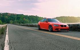 Картинка дорога, красный, отражение, bmw, бмв, red, седан