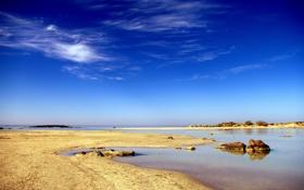 Обои море, пляж, небо, голубое, залив, мелководье