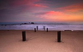 Картинка песок, пляж, небо, колья, выдержка, краски, море