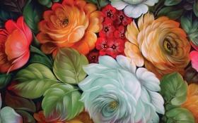 Обои жостовская роспись, текстура, творчество, цветы