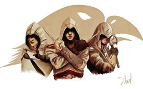 Картинка assassins, убийцы, altair, connor, assassins creed, ezio