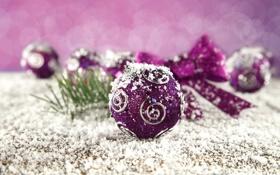 Обои зима, шарики, снег, узоры, игрушки, Новый Год, Рождество