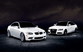Обои Audi, BMW, white, front, E92, 3 Series