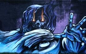 Обои стена, граффити, Graffiti, фэнтези