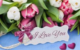 Картинка любовь, букет, сердечки, тюльпаны, I love you, flowers, romantic
