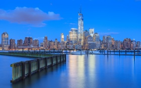 Картинка голубой, дома, Нью-Йорк, небоскребы, вечер