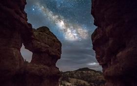 Обои ночь, скалы, каньон, USA, США, млечный путь, Utah