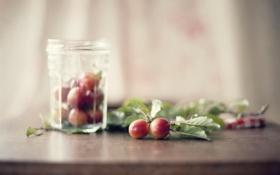 Обои glass, bokeh, cherry plum fruits