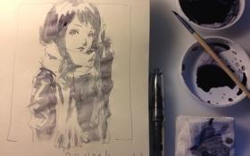 Обои девушка, лист, рисунок, аниме, шарф, кисть, салфетка