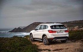 Обои песок, море, берег, бмв, BMW, xDrive, паркетник