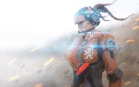 Картинка девушка, фантастика, шлем, броня, киборг, киберпанк