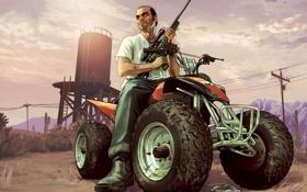 Картинка gta 5, квадроцикл, мужик, снайперка, Grand Theft Auto V, тревор