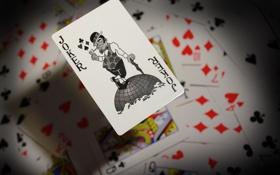 Картинка карты, Джокер, в воздухе, ч.б. джокер