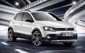 Картинка белый, Volkswagen, эстакада, передок, кроссовер, Фольксваген, CrossPolo
