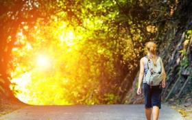 Обои дорога, девушка, солнце, путь, рюкзак